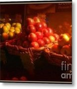 Red And Yellow Apples In Baskets Metal Print