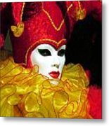 Red And Yellow Jester Metal Print