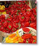 Red And Yellow Peppers Metal Print