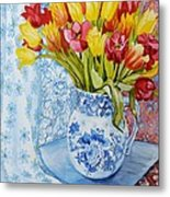 Red And Yellow Tulips In A Copeland Jug Metal Print