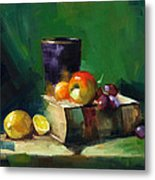 Red Apple Book And Purple Metal Print by Pepe Romero