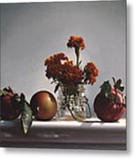 Red Apples And Marigolds Metal Print