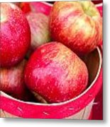 Red Apples In Baskets At Farmers Market Metal Print