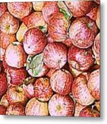 Red Apples With Green Leaf Metal Print