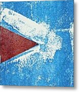 Red Arrow Painted On Blue Wall Metal Print