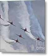 Red Arrows Roll Left Metal Print