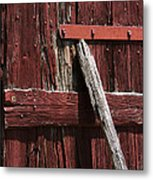 Red Barn Abstract Metal Print by Rebecca Sherman