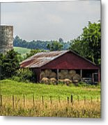 Red Barn And Bales Of Hay Metal Print