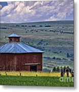 Red Barn And Barbed Wire Metal Print