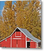 Red Barn And Fall Colors Metal Print