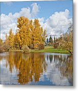 Red Barn And Fall Colors Reflected In A Pond Metal Print
