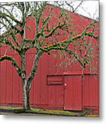 Red Barn And Green Tree In Dundee Hills Oregon Wine Country Metal Print
