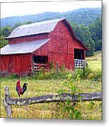 Red Barn And Rooster Metal Print