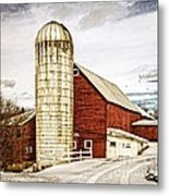 Red Barn And Silo Vermont Metal Print