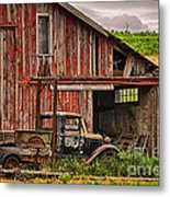 Red Barn And Truck In The Palouse Metal Print