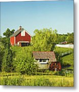 Red Barn And Water Mill On Farm In Maine Metal Print