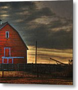 Red Barn At Dawn Metal Print
