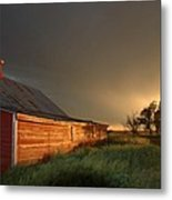 Red Barn At Sundown Metal Print