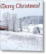 Red Barn Christmas Card Metal Print