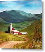 Red Barn Hillside Farm Metal Print