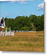 Red Barn In Meadow, Knowlton, Quebec Metal Print