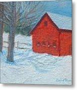 Red Barn In Winter Metal Print