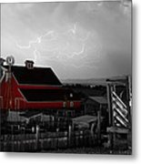 Red Barn On The Farm And Lightning Thunderstorm Bwsc Metal Print by James BO  Insogna