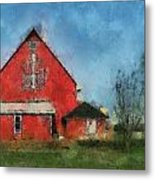 Red Barn Rear View Photo Art 03 Metal Print