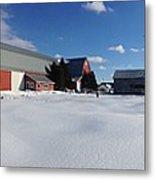 Red Barn Series Feat. Snow Metal Print