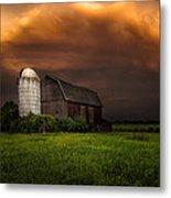 Red Barn Stormy Sky - Rustic Dreams Metal Print