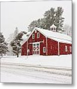 Red Barn Winterscape Metal Print