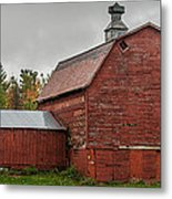 Red Barn With Fall Colors Metal Print