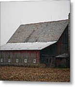 Red Barn With Medieval Silo  Metal Print