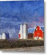 Red Barn With Silos Photo Art 02 Metal Print