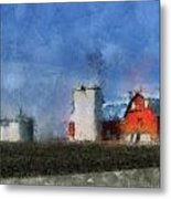 Red Barn With Silos Photo Art 03 Metal Print