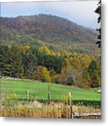 Red Barns And Mountains Metal Print
