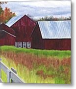 Red Barns At Freehold Metal Print