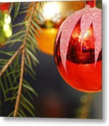 Red Bauble - Available For Licensing Metal Print
