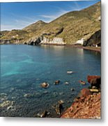 Red Beach Santorini Metal Print
