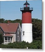 Red Beacon On Nauset Light Metal Print