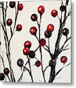 Red Berry Study Metal Print