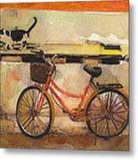Red Bicycle And Cat Metal Print