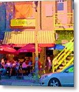 Red Bistro Umbrellas Cafe Cote Soleil Rue St Denis Yellow Staircase Montreal Scenes Carole Spandau Metal Print
