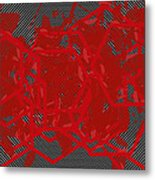 Red Black White Expressions Scramble  Black Red Metal Print
