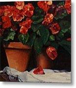 Red Bloom In Terracotta Metal Print