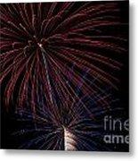 Red Blue Fireworks Metal Print