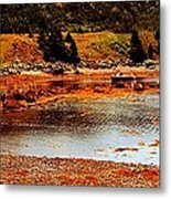 Red Boat At Low Tide Triptych Metal Print