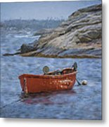 Red Boat In Peggy's Cove Metal Print