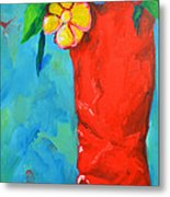 Red Boot With Flowers Metal Print