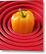 Red Bowls And Pepper Metal Print